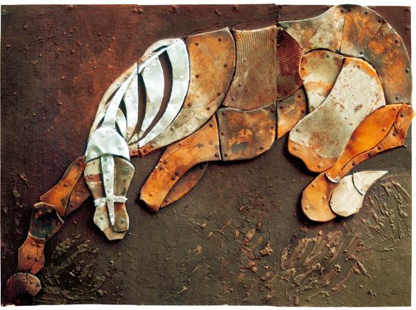 Walczacy III, z cyklu Futuroidy, 2001r, 315x235cm