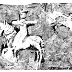 Krystyna Bieniek - 'Polowanie armeńskiego księcia' linoryt [41 cm x 58 cm]