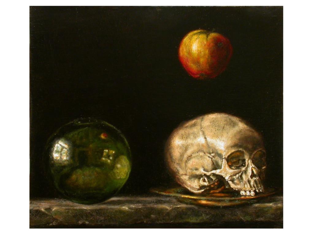 Martwa natura ze szklaną kulą,jabłkiem i czaszką.35,5x30,5