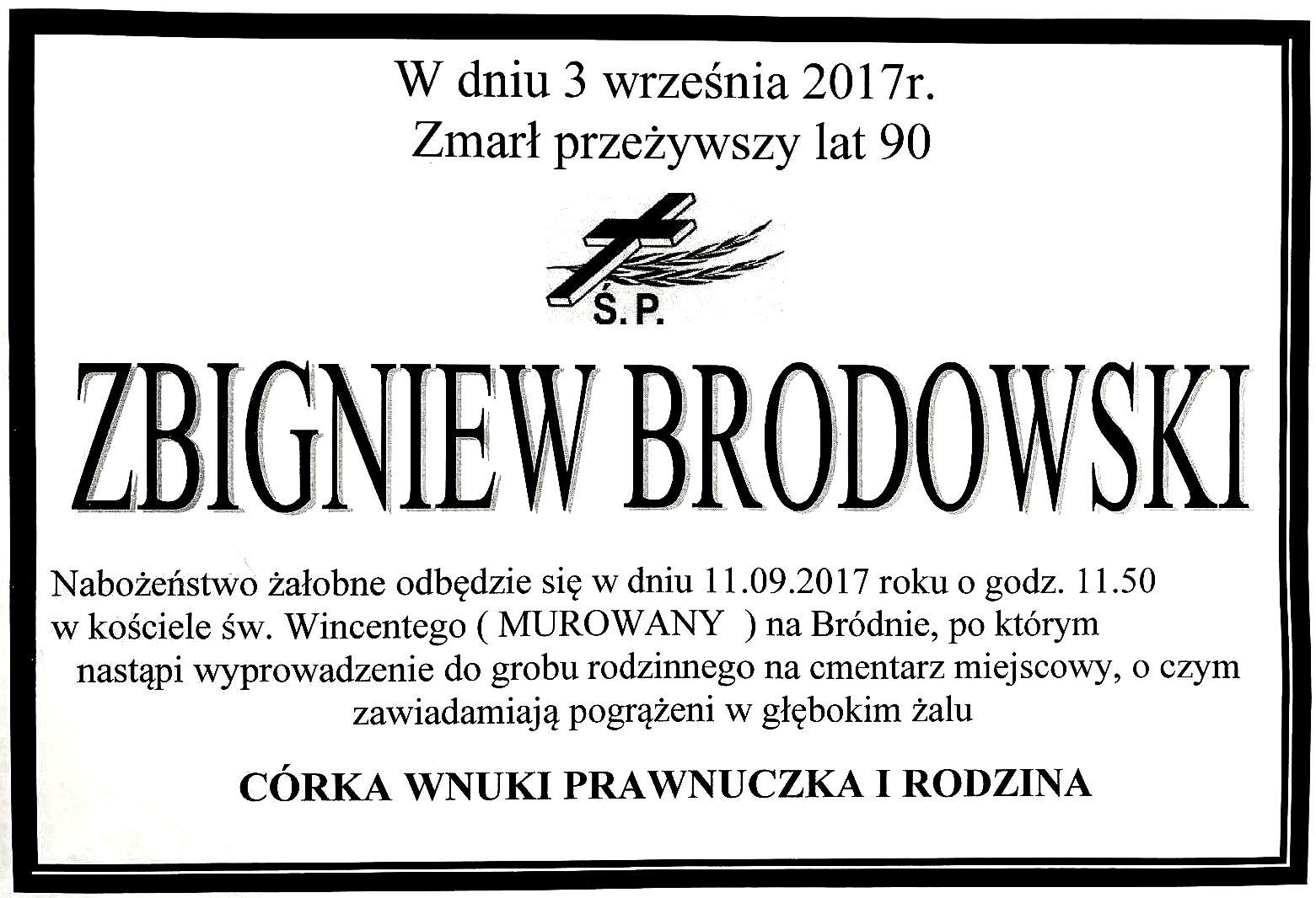 nekrolog Zbigniew Brodowski