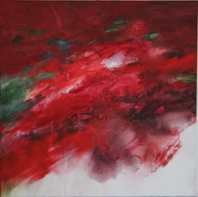 Oswajanie czerwieni, akryl, 50x50cm, 2016r