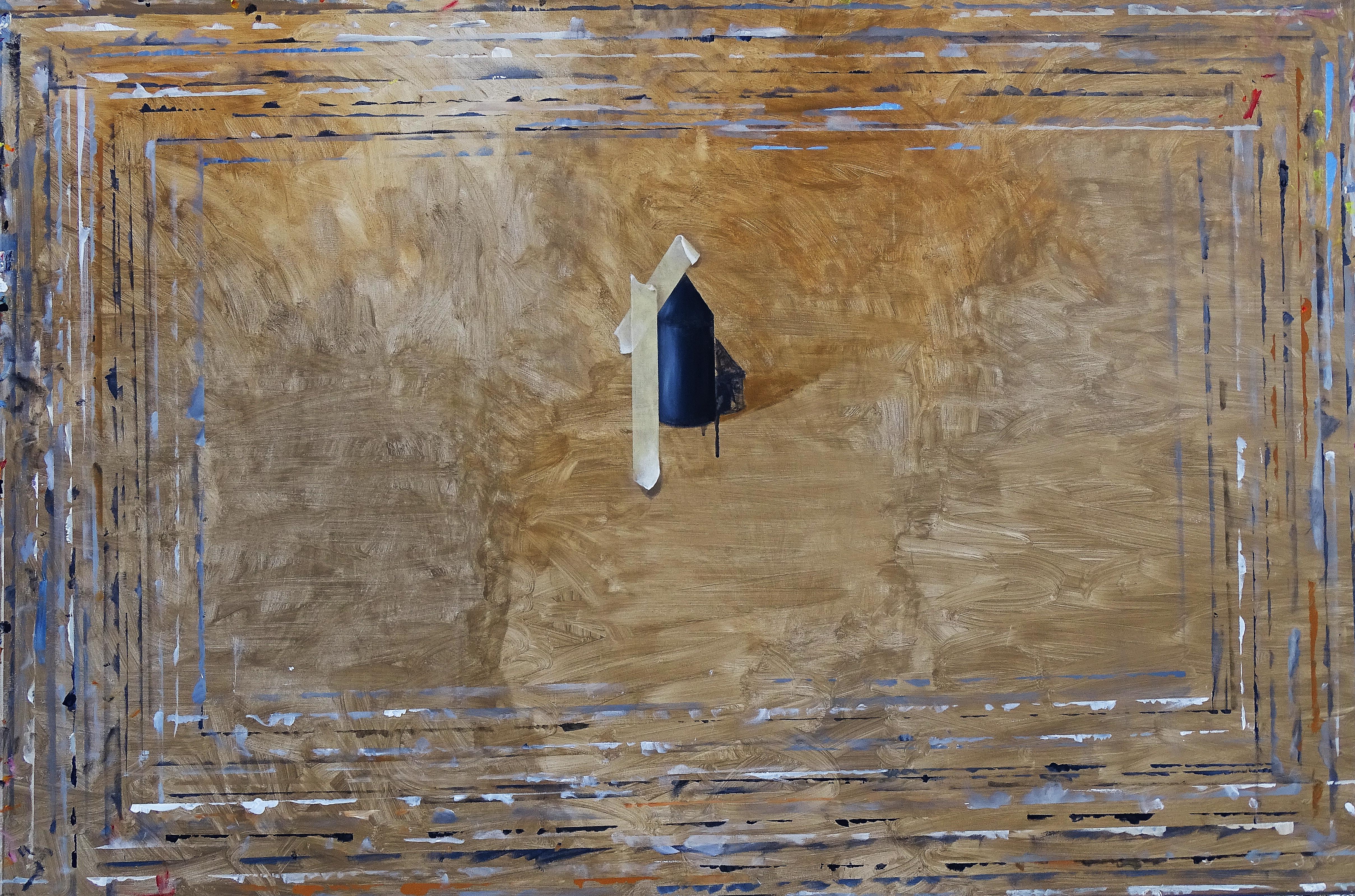 Dariusz Mlącki 2016,Deska z Kościółkiem, 100x150,akryl olej na płótnie