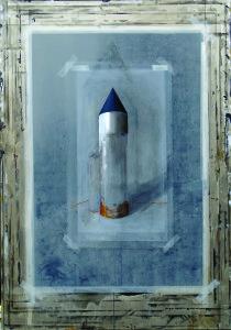 Dariusz Mlącki Deska zrysunkiem z wieżą 185x135 olej na płótnie, Obraz do promocji