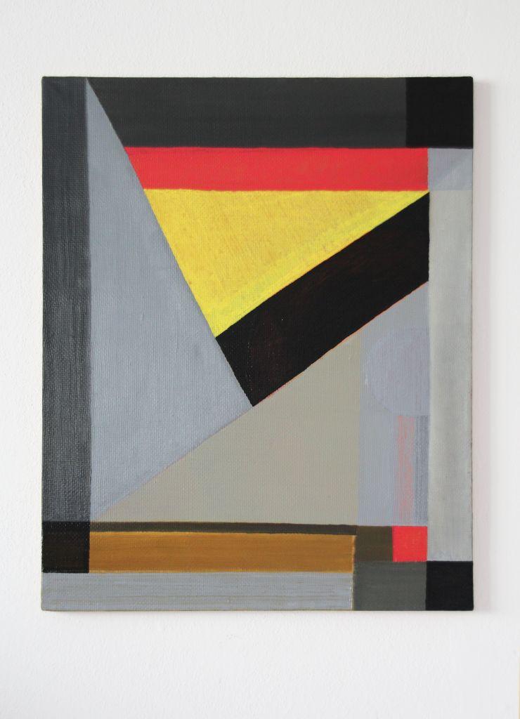 Niepodległośc trójkątów, olej, płótno, 75,5 x 60,5 cm