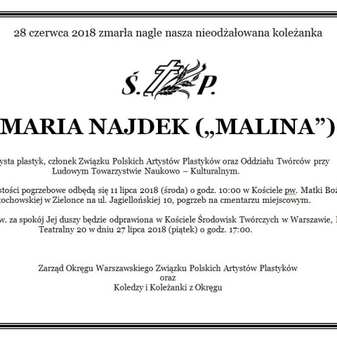 Maria Najdek nekrolog