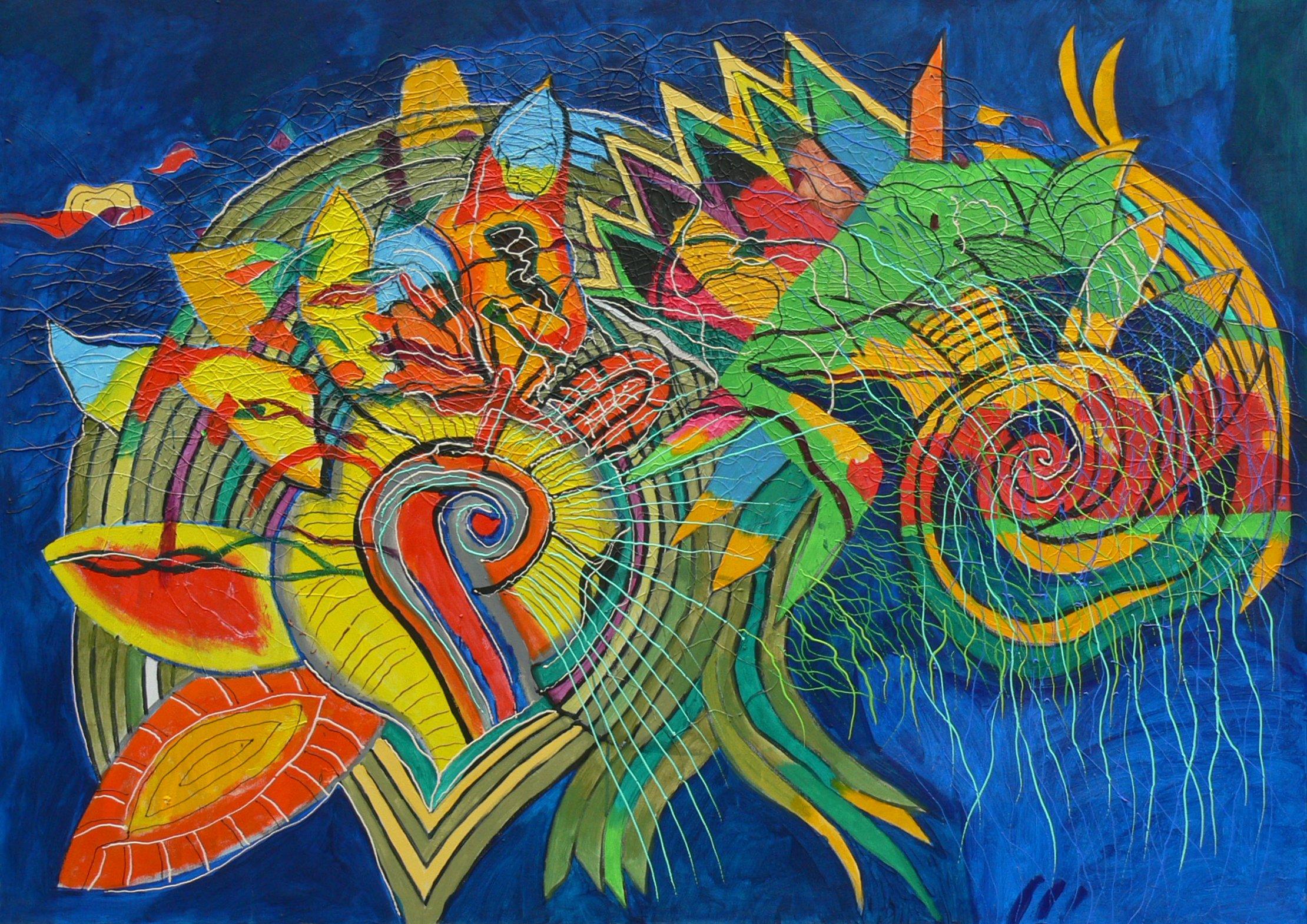 Abstrakcja, akryl, płótno 146x96 2010r.