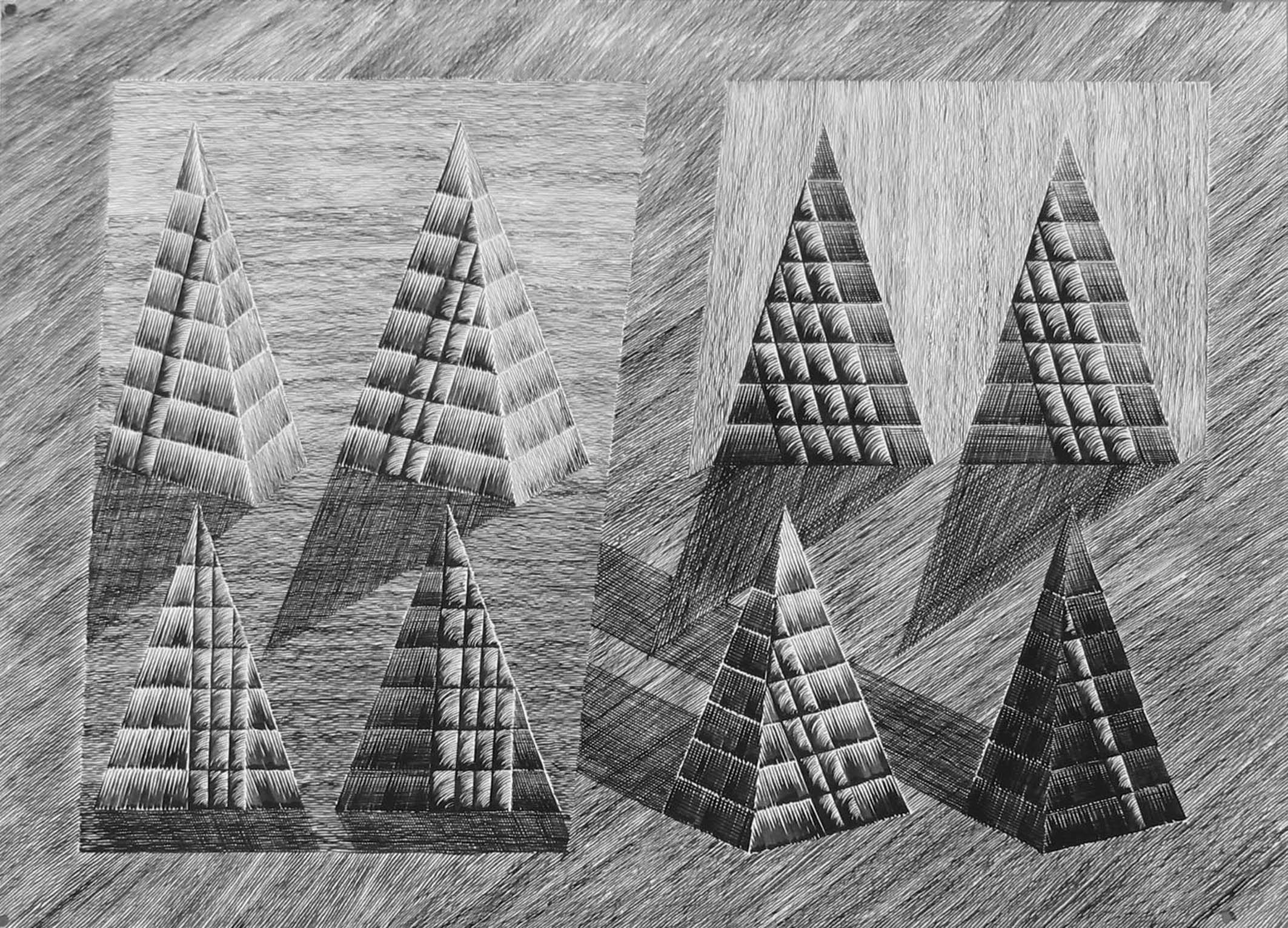 21 Rytm piramidalny_The Pyramid Rhytm - rys tusz_ink, 73x102, 1991
