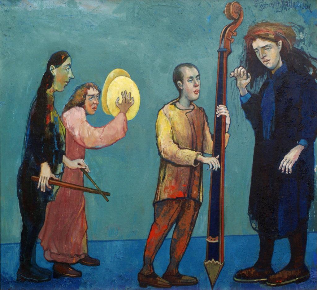 Błękitny koncert, 81x92 cm, akryl, 2010