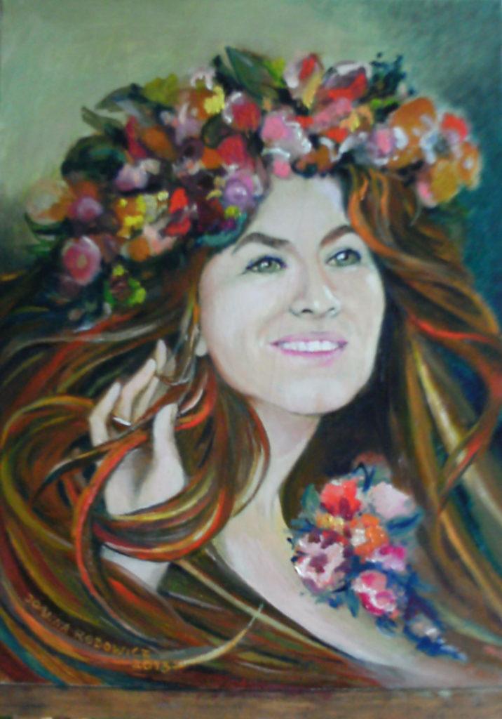 Portret pani D.T., olej na płótnie, 30 x 40 cm