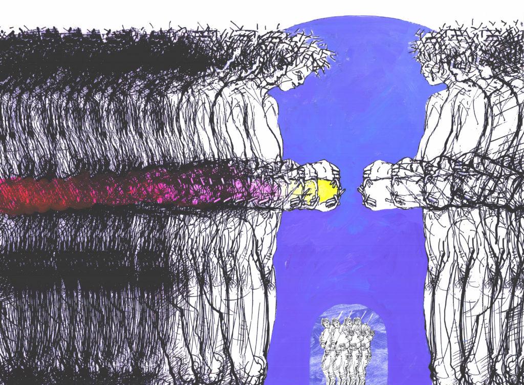 Podarunek, technika własna na papierze, 140x100, 2010