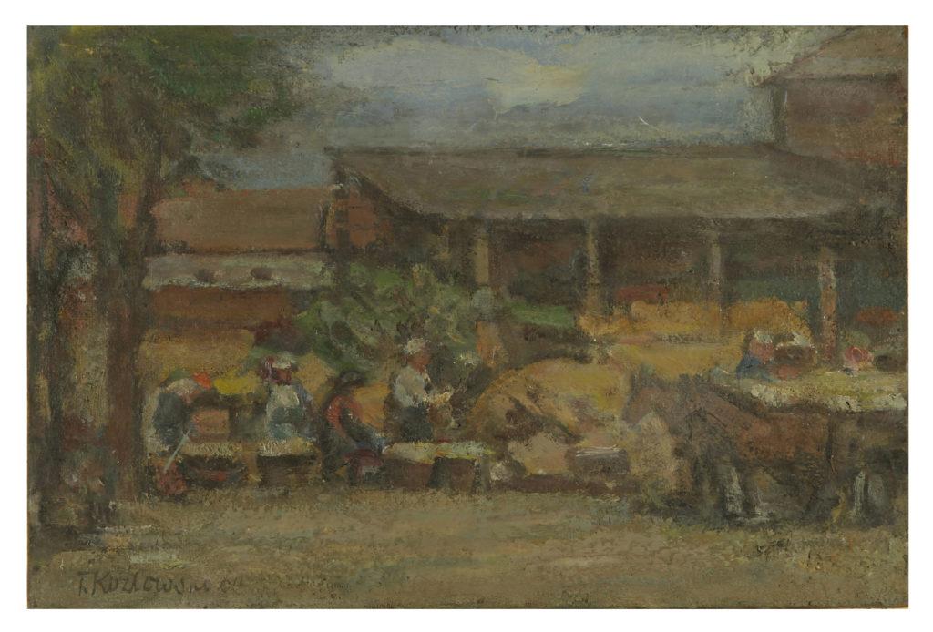 Sortowanie warzyw w majątku wilanowskim, 60 x 40 olej na płycie, 1964