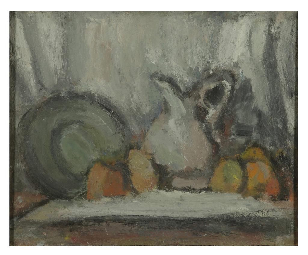 Martwa natura z talerzem, 33 x 41 olej na płycie, 1967