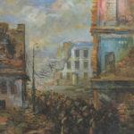 Exodus warszawski, olej, papier, 1945