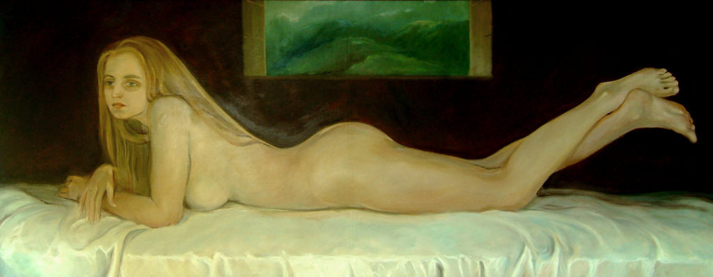 Monika, olej na płótnie, 1988, 82x201