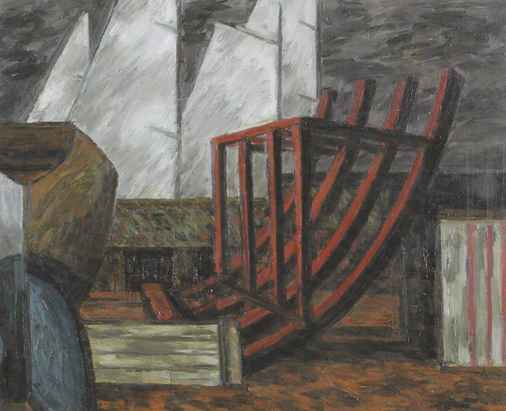 Stocznia, olej, płótno, 1966