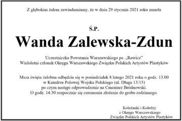 Pożegnanie Wandy Zalewskiej-Zdun